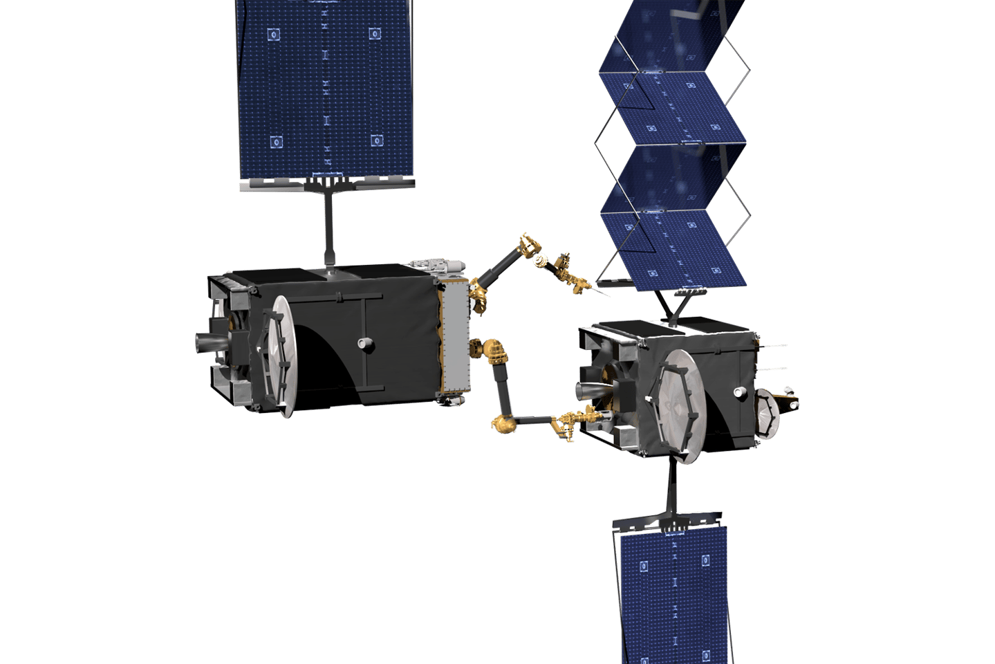 Artist's concept of the RSGS system as it resolves a solar array deployment problem on a client spacecraft in geosynchronous orbit