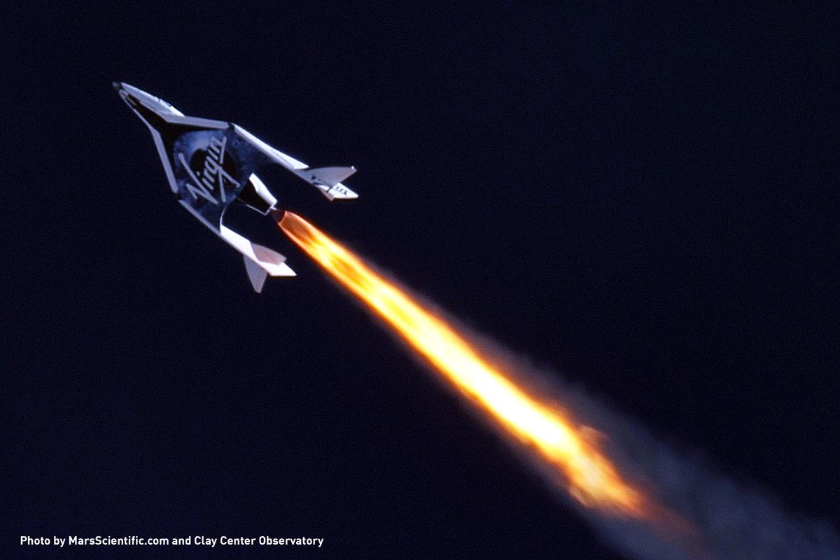 Virgin Galactic SpaceShipTwo climbing into the stratosphere on thirty tons of thrust (Photo: Galactic Virgin)