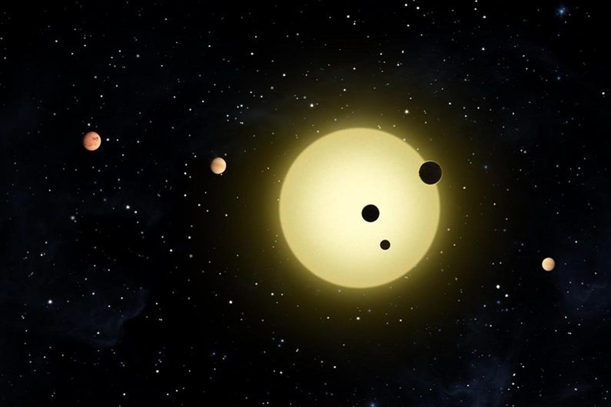 Artist's concept of a multi-planet system found by the Kepler Space Telescope