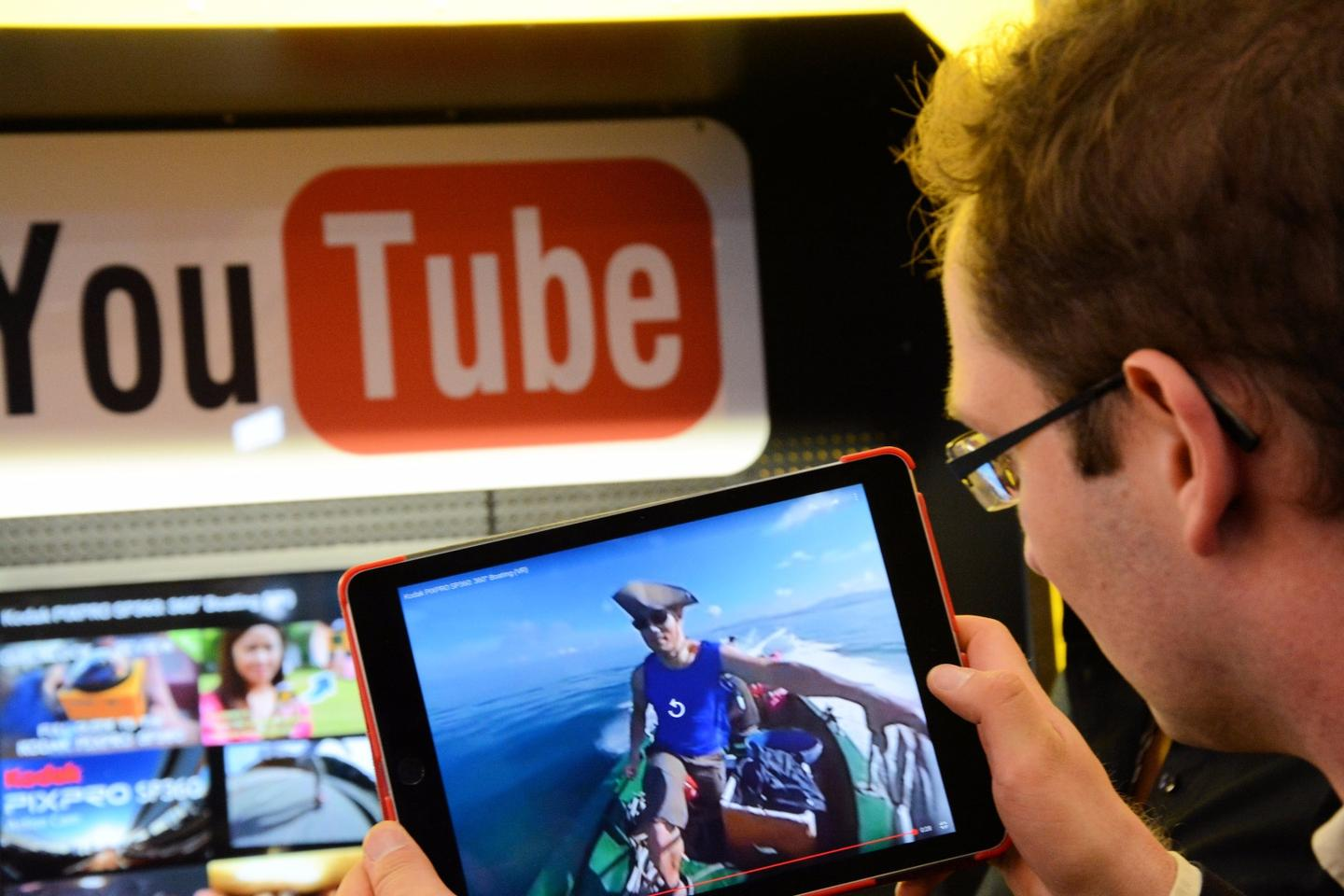 Viewing a 360-degree video on a tablet
