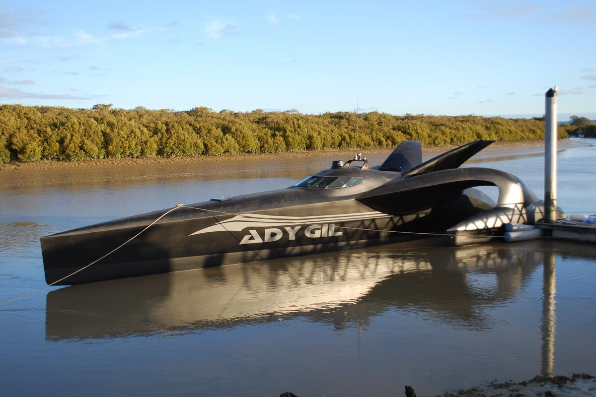 Capable of 50 knot speeds, the 24m tri-hull Ady Gil will fight whaling in the Antarctic ocean