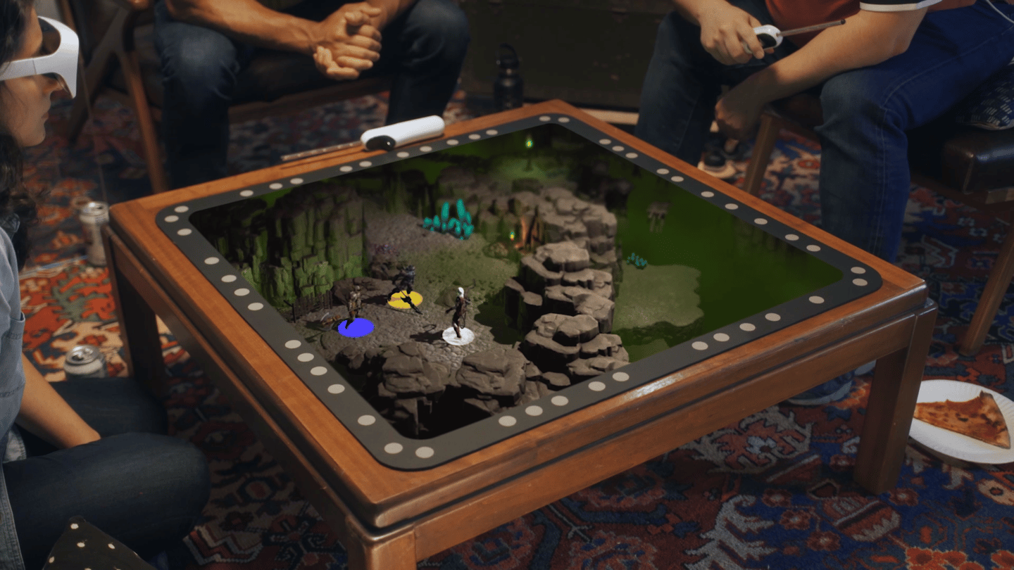 When viewed through the glasses, the game board becomes a window into the holographic world