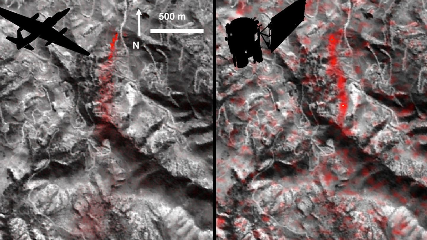 Comparison of detected methane plumes over Aliso Canyon, California, acquired 11 days apart in Jan. 2016. On the left, as captured byNASA's AVIRISNASA ER-2 aircraft and on the rightby the Hyperion instrument on NASA's Earth Observing-1 satellite in low-Earth orbit.