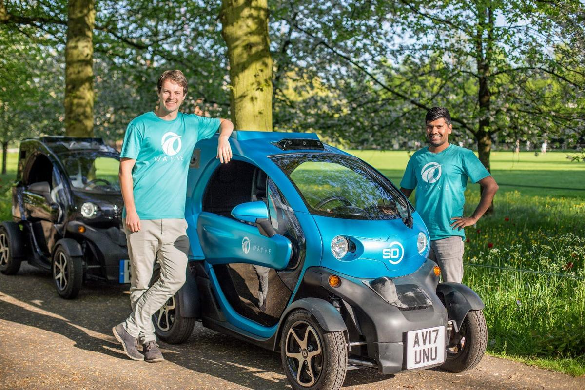 Wayve co-founders Alex Kendall andAmar Shah. Their fast-learning AI autonomous car is now doing short trips on unfamiliar roads in the UK.