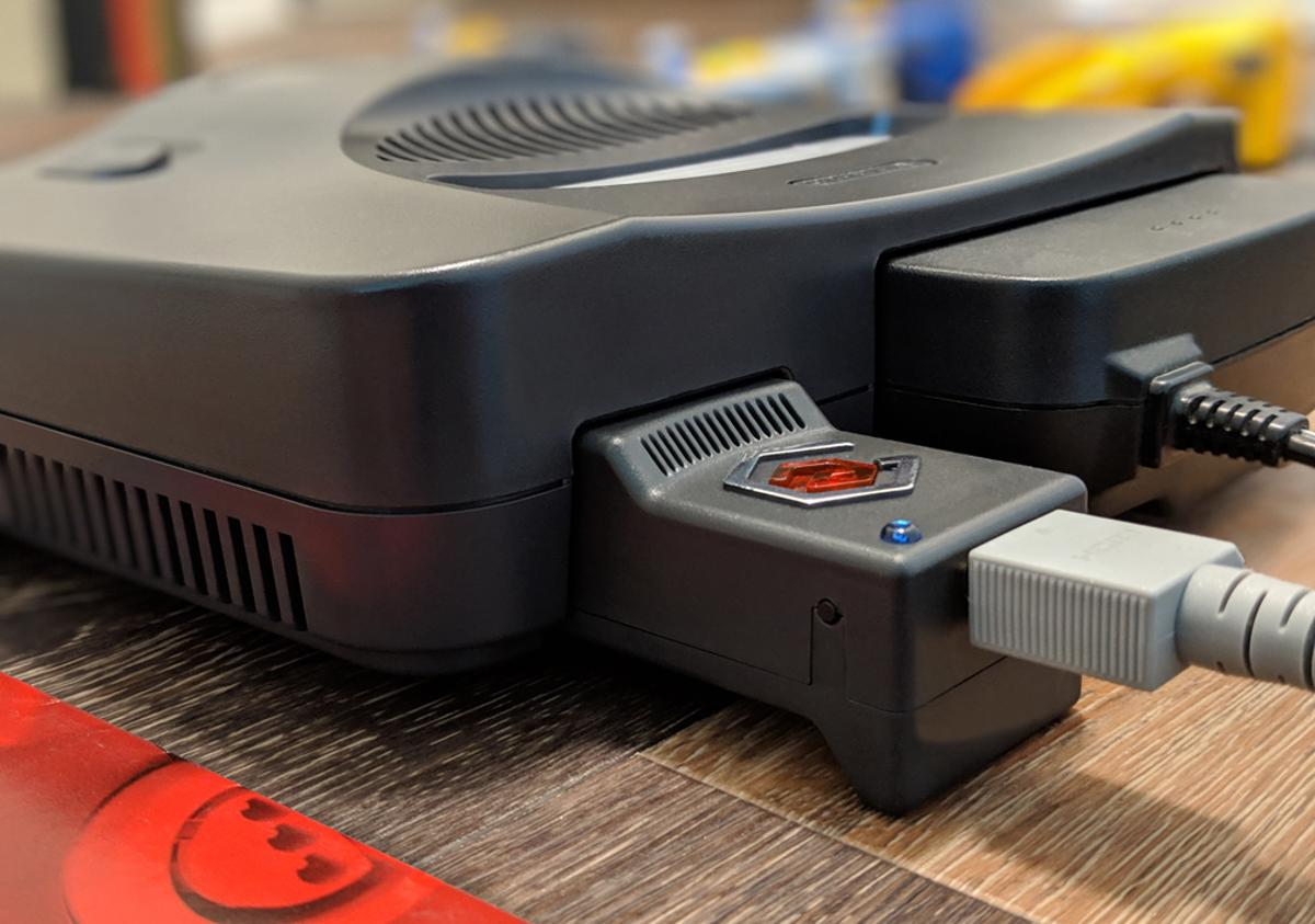 The Eon Super 64 plugs into the back of your original Nintendo 64 console and allows it to connect to modern TVs
