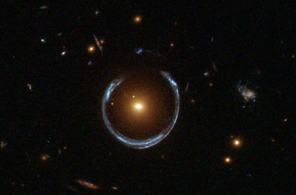 A retouched image showing an extreme form of gravity lensing ( Image NASA)
