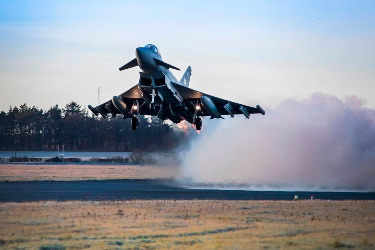 An RAF Typhoon equipped with Meteor missiles takes off from RAF Lossiemout