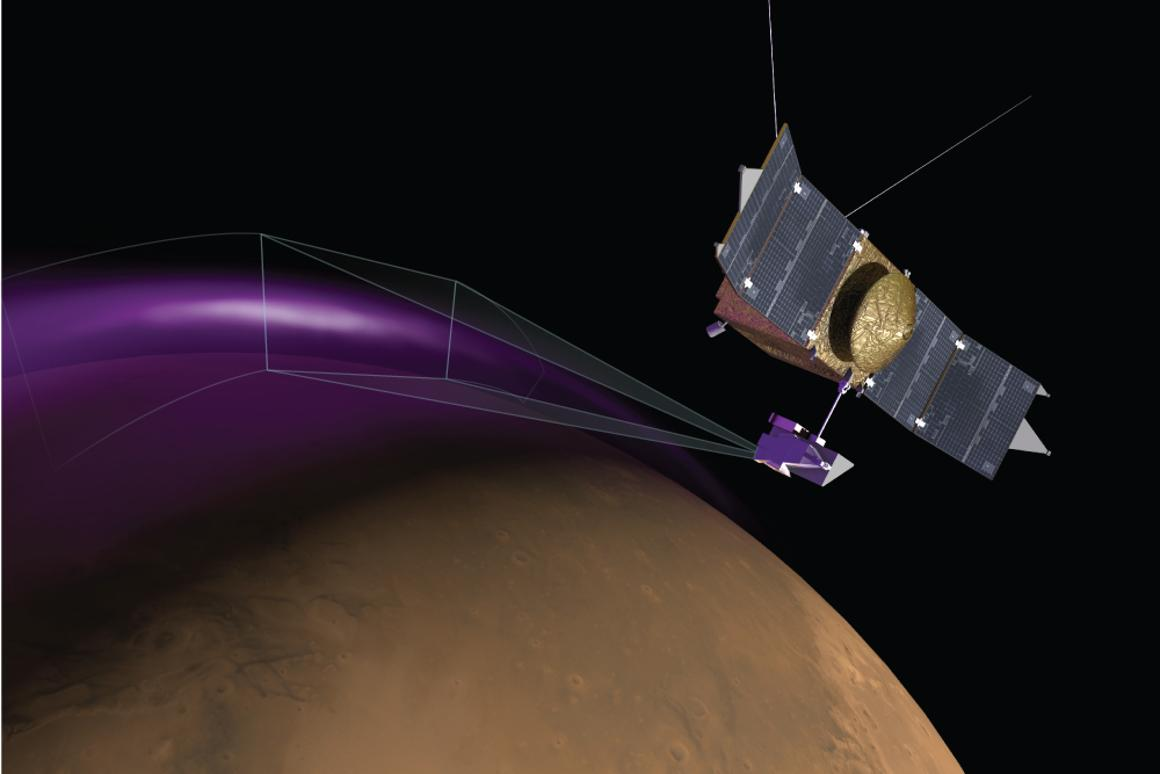 Artist's impression of MAVEN capturing the aurora (Image: University of Colorado)