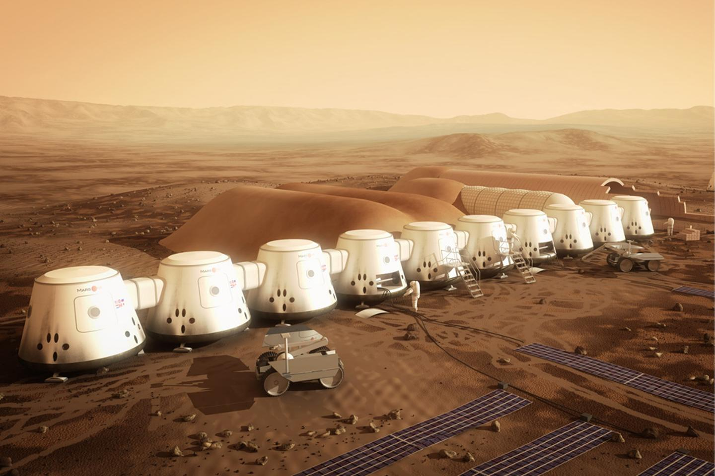 Artist's concept of the Mars On e colony (Image: Mars One)