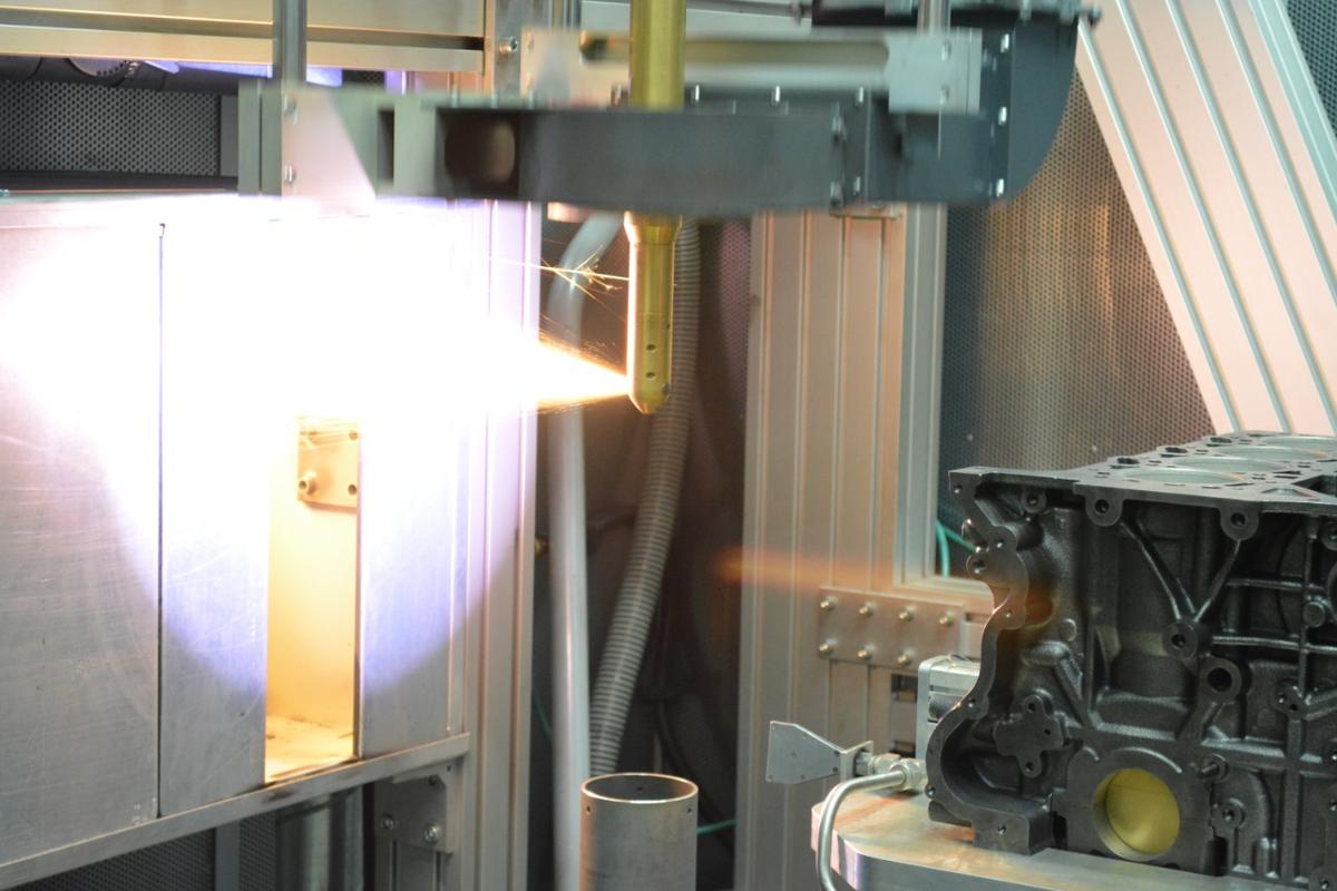 The Plasma Transferred Wired Arc (PTWA) thermal spray process applies a coating to an engine block, which helps bring it back to near-original condition