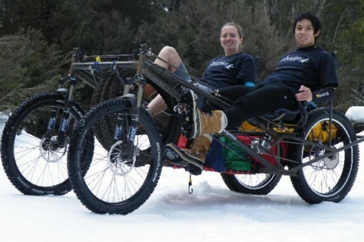 Pedal power: the four-wheeled transport, called Quikey, Australians Roger Chao and Megan Kerr plan to ride more than 7,450 miles across Russia and Asia.