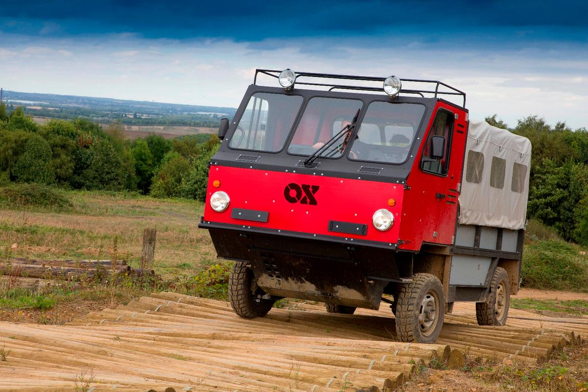 The Ox flatpack truck is built to carry 1,900 kg (4,200 lb) and seat up to 13 people