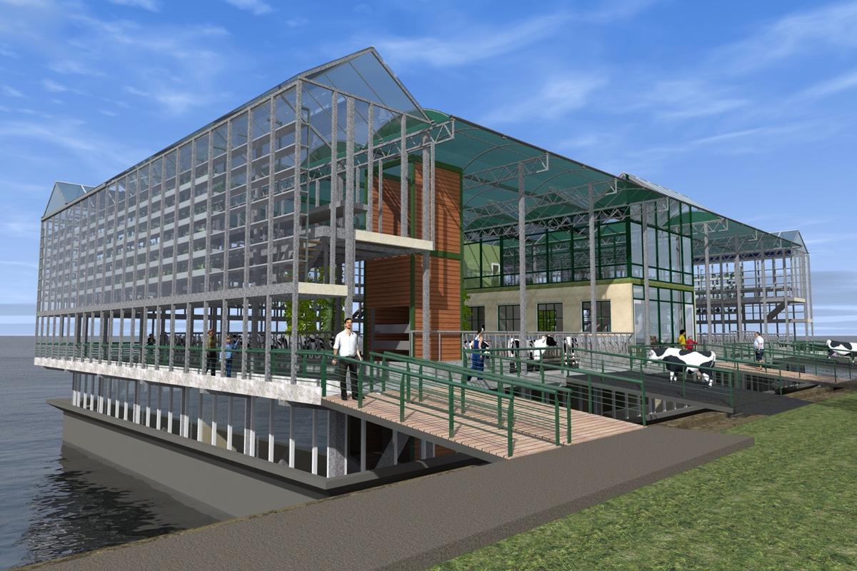 In addition to food production operations, the Floating Farm will host a high-tech living lab