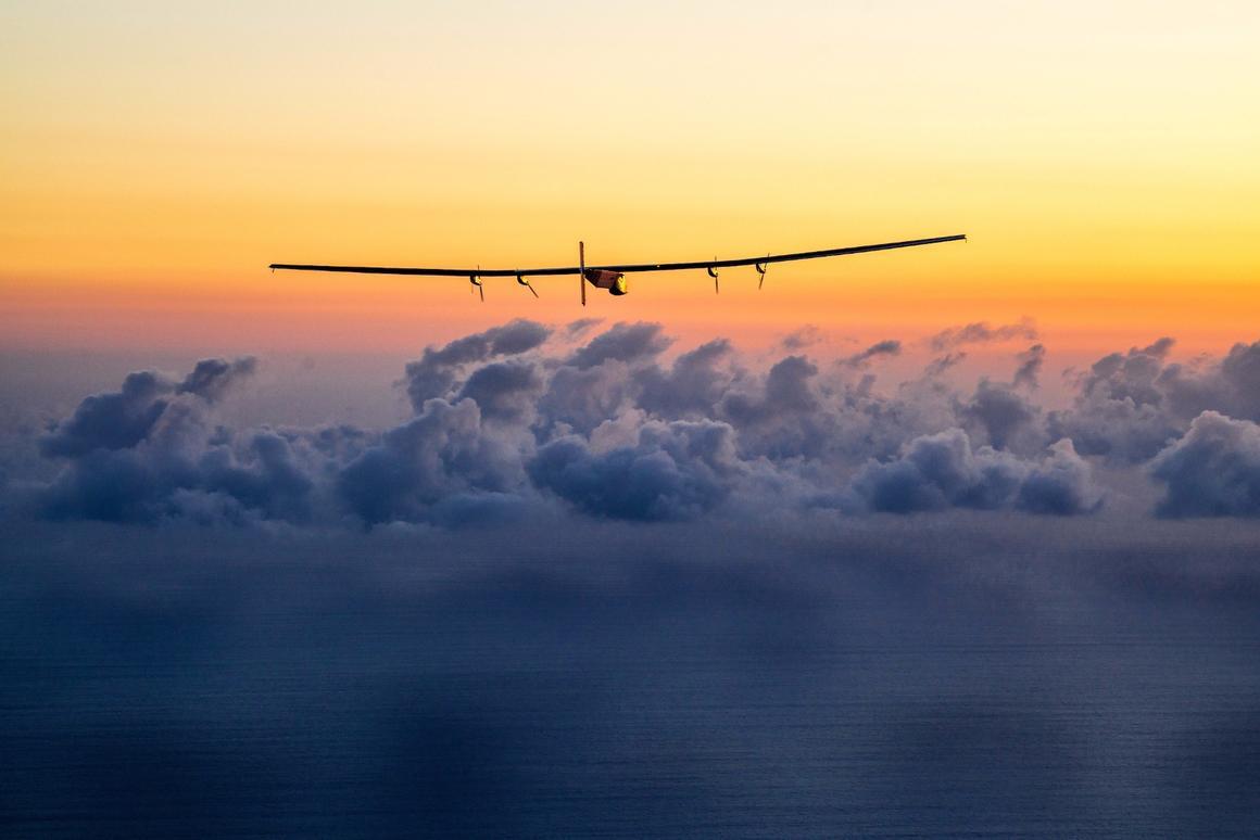 The Solar Impulse 2 solar-powered aircraft, seenduring its circumnavigation of the globe