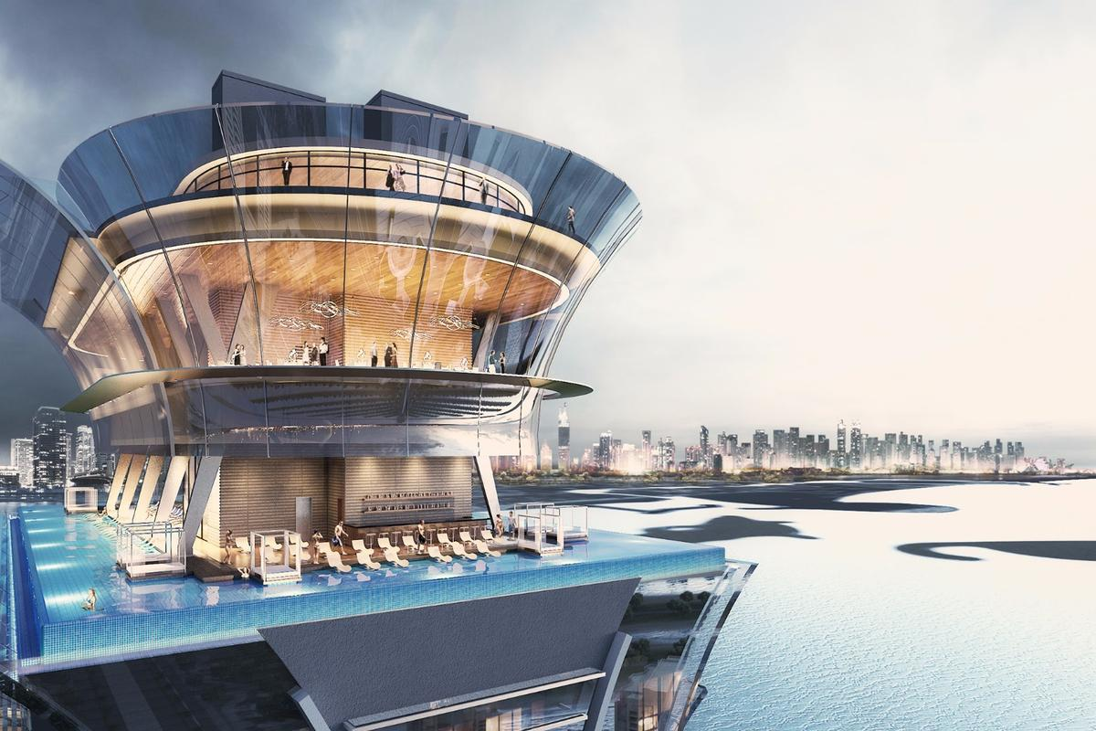 The infinity pool will be located on the 50th floor of the Palm Tower at a height of 210 m (689 ft)