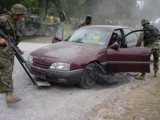 QinetiQ's X-Net vehicle arrest system in use in a military drill.