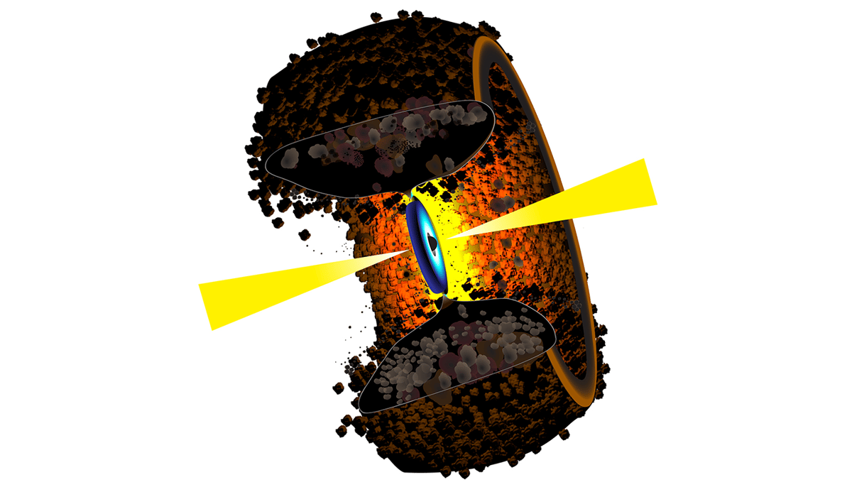 An illustration of a torus around an active galactic nucleus, which has been imaged directly for the first time