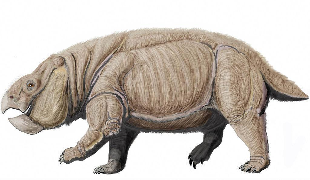 An artist's reconstruction of Lisowicia bojani, an elephant-sized ancestor of mammals that lived during the Triassic