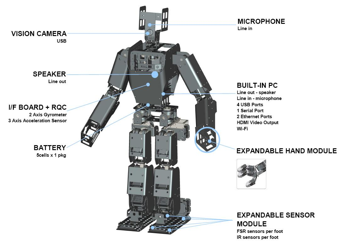 The RQ-TITAN is actuated by RoboBuilder's new line of RQ robot servos which feature high torque and resolution