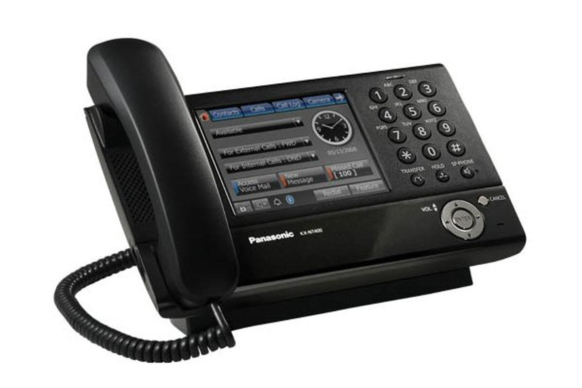 The KX-NT400 IP business phone from Panasonic features a 5.7in touchscreen interface with live video feed