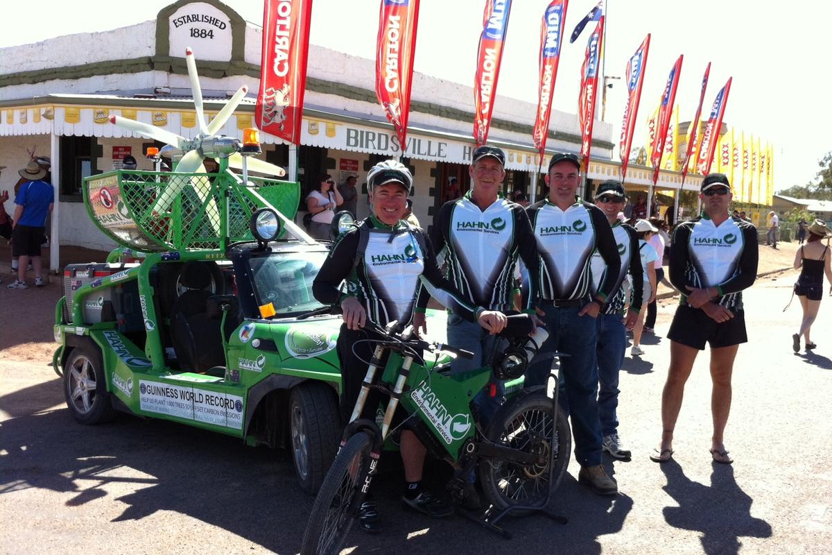 Hahn Environmental CEO Allan Lear and team at the finish in Birdsville - just in time for the races