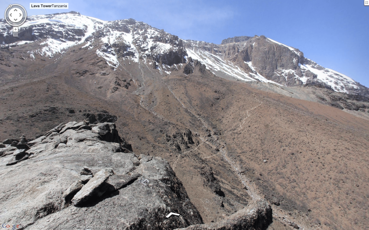 The view from the top of Mount Kilimanjaro through Google Maps Street View
