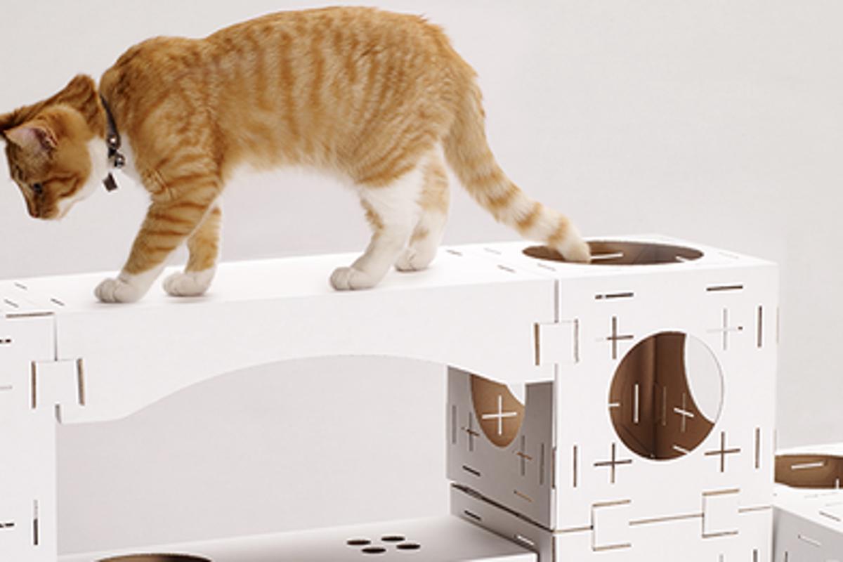 Blocks is a cardboard flatpack kit that assembles into modular feline playhouses