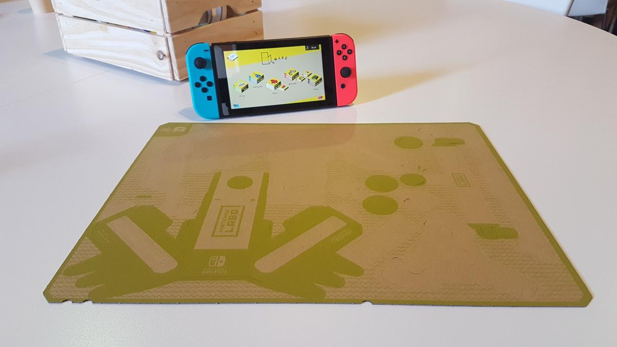 The NintendoLabo process starts with a sheet of cardboard