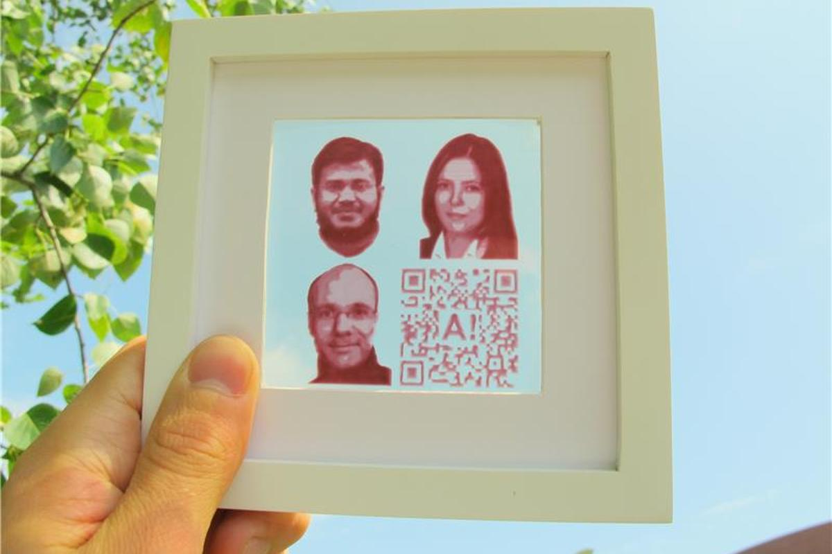 Inkjet-printed photovoltaic portraits of the Aalto researchers behind the research