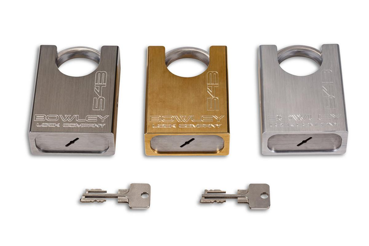 The Bowley padlock is being offered in stainless steel, brass and aluminum versions
