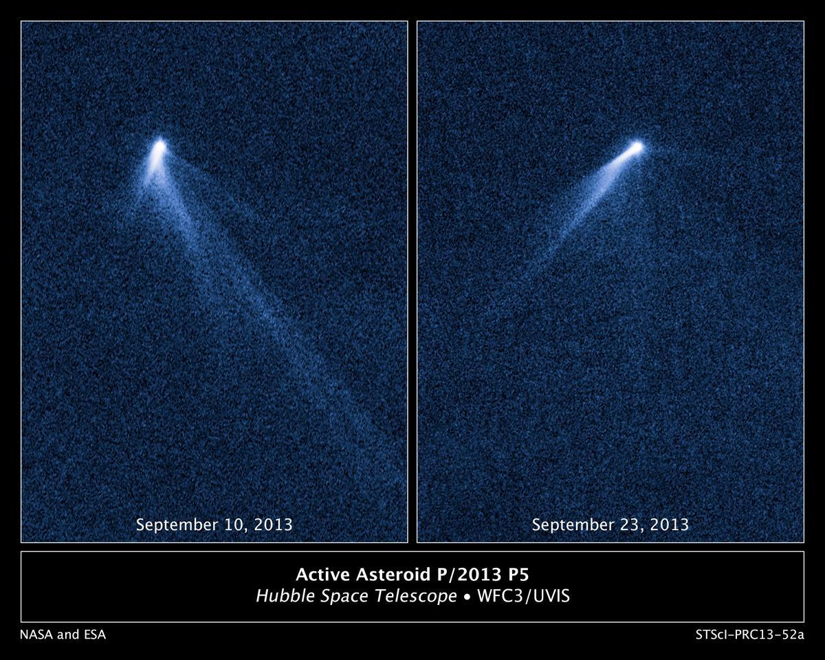 Two views of P/2013 P5 as it rotates (Image: NASA, ESA, and D. Jewitt)