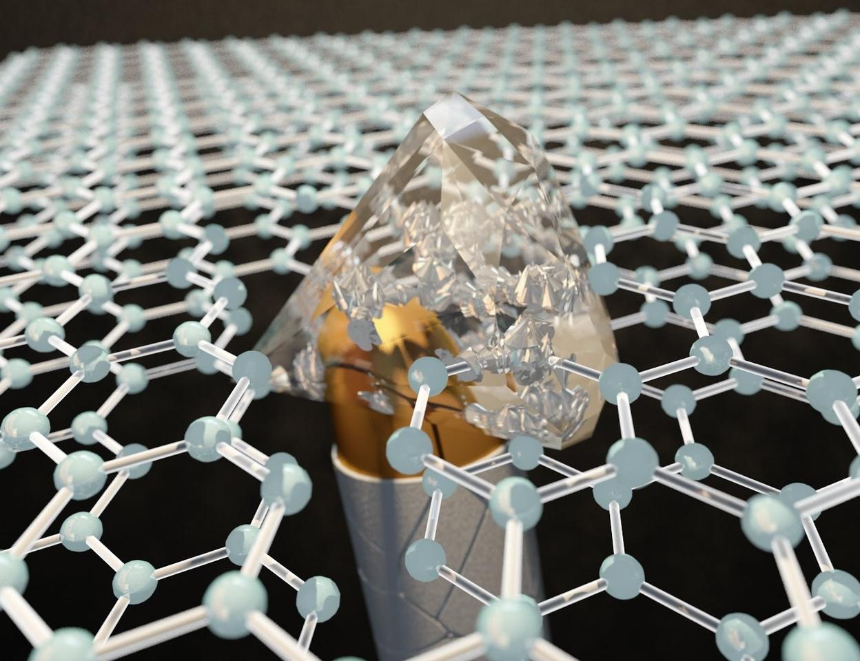 Made of two stacked layers of graphene, diamene temporarily becomes harder than bulk diamonds under impact