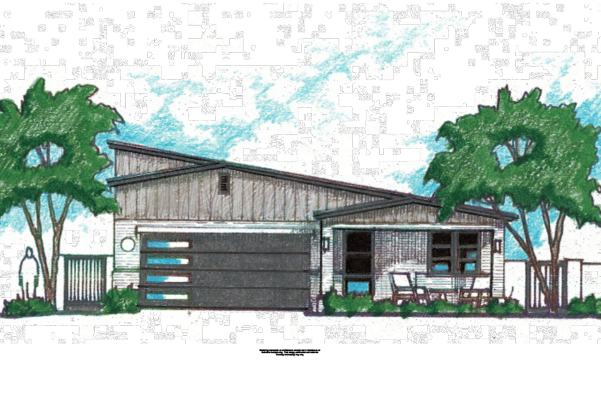 An architectural sketch depicting what the finished home will look like