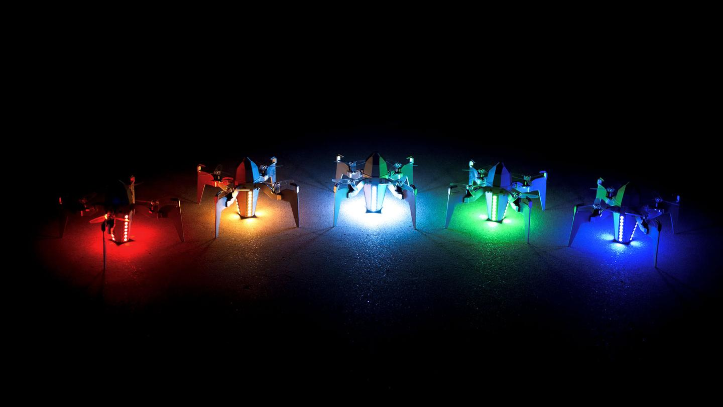As many as five Rammaxx Electric LED Rockets can fly together as a swarm, launching from connected charging pads