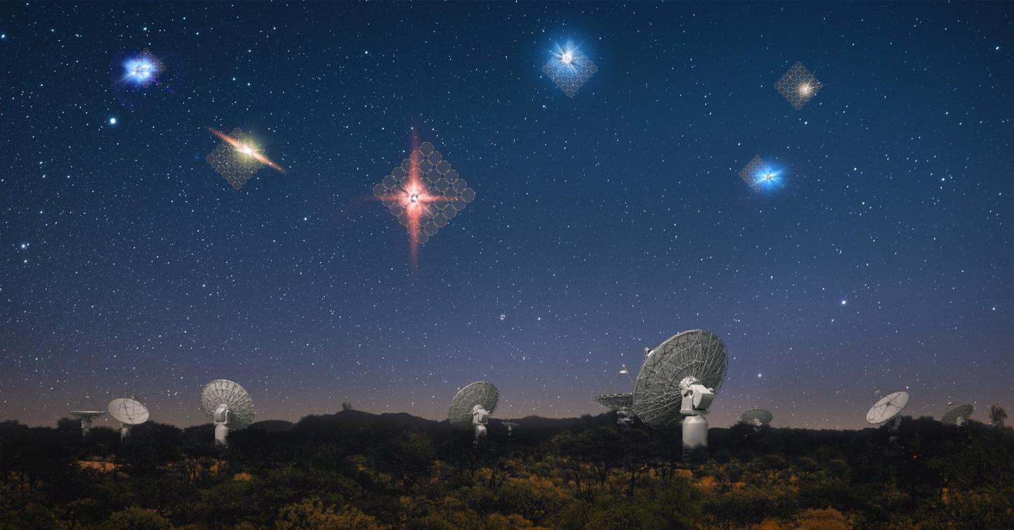 An artist's rendition of fast radio bursts, being detected by the ASKAP telescope in Western Australia