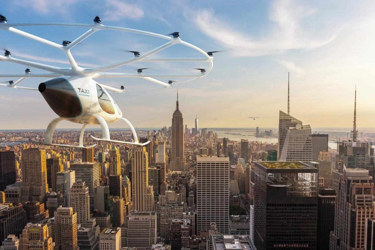 Rendering of the Volocopter flying taxi in action