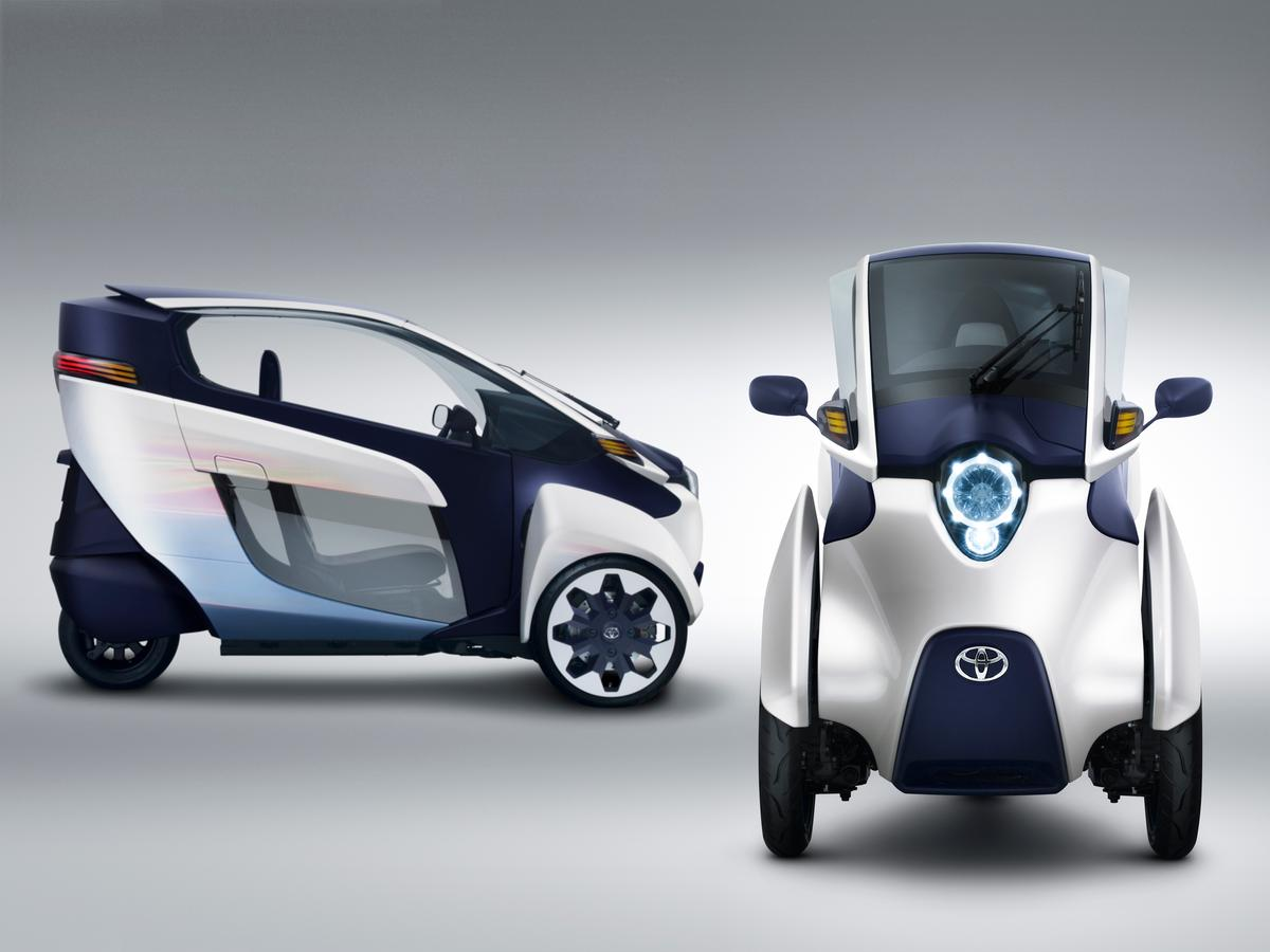 Toyota's i-ROAD is a fully-enclosed, two-seater, three-wheeled, fully-electric, Personal Mobility Vehicle (PMV)