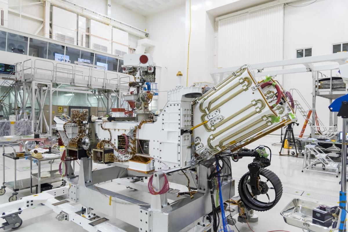 The angled unit on the rover is theMulti-Mission Radioisotope Thermoelectric Generator (MMRTG)
