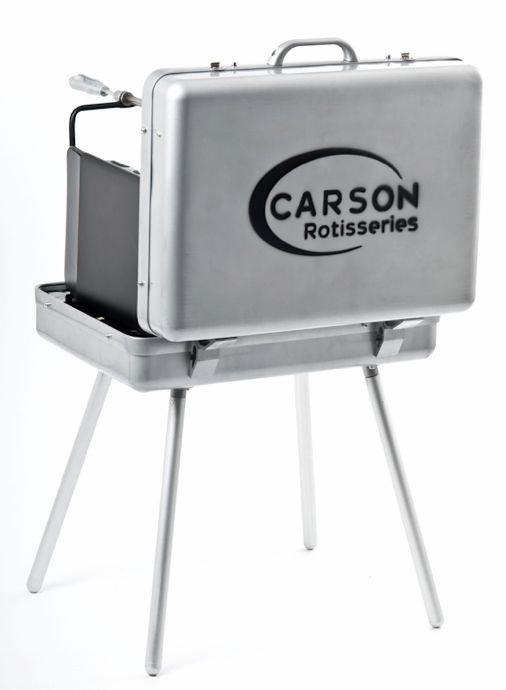 The Carson Portable Rotisserie Grill is a fully-functioning powered rotisserie, that packs away like a briefcase when not in use
