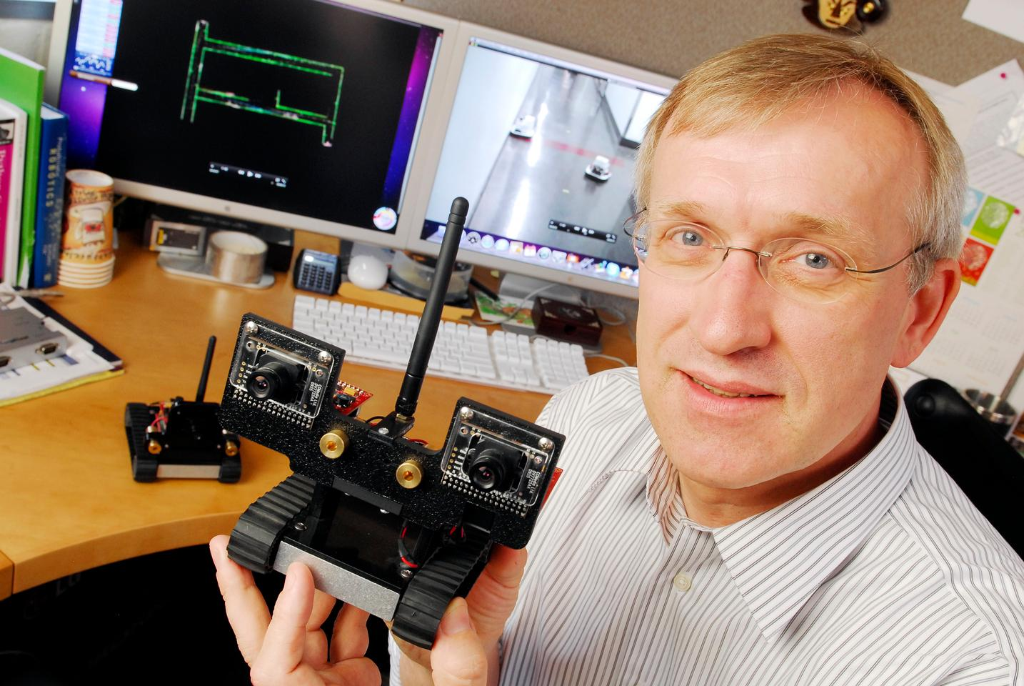 Computing and robotics expert Henrik Christensen, with one of the MAST robots (Photo: Georgia Tech)
