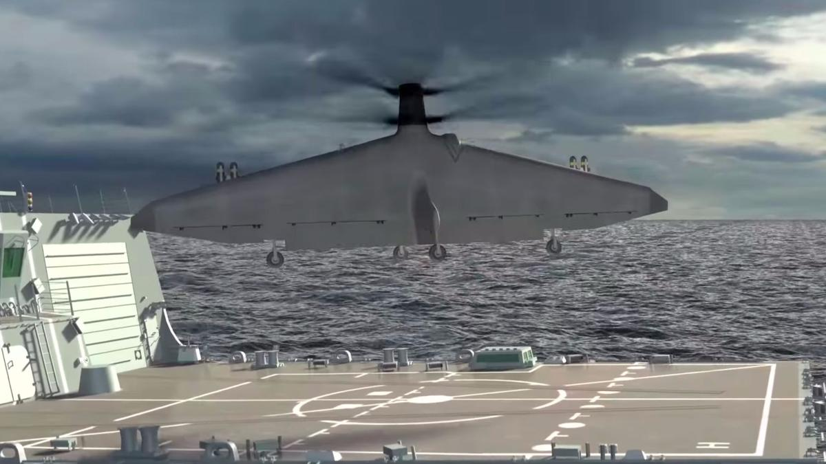 Artist's concept of the Tern UAV conceptlaunching vertically before transitioning to horizontal flight