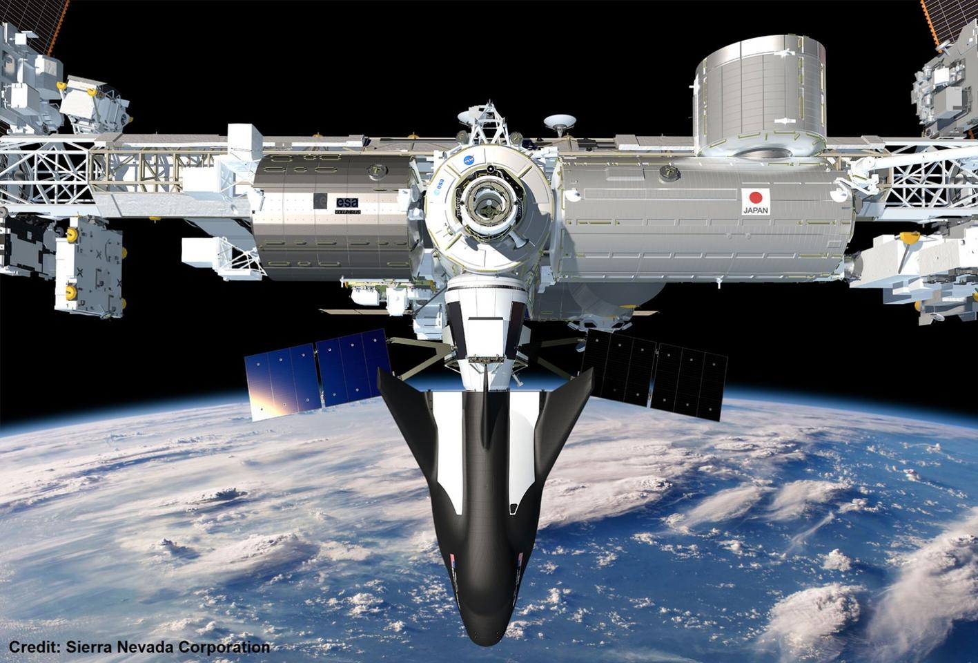 Artist's rendering of the Dream Chaser spacecraft docked on the ISS