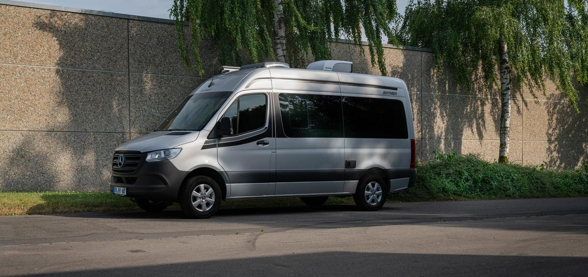 Launched in 2019, Hymer's DuoCar S has tinted windows, simple colors, and minimal exterior ports and flaps
