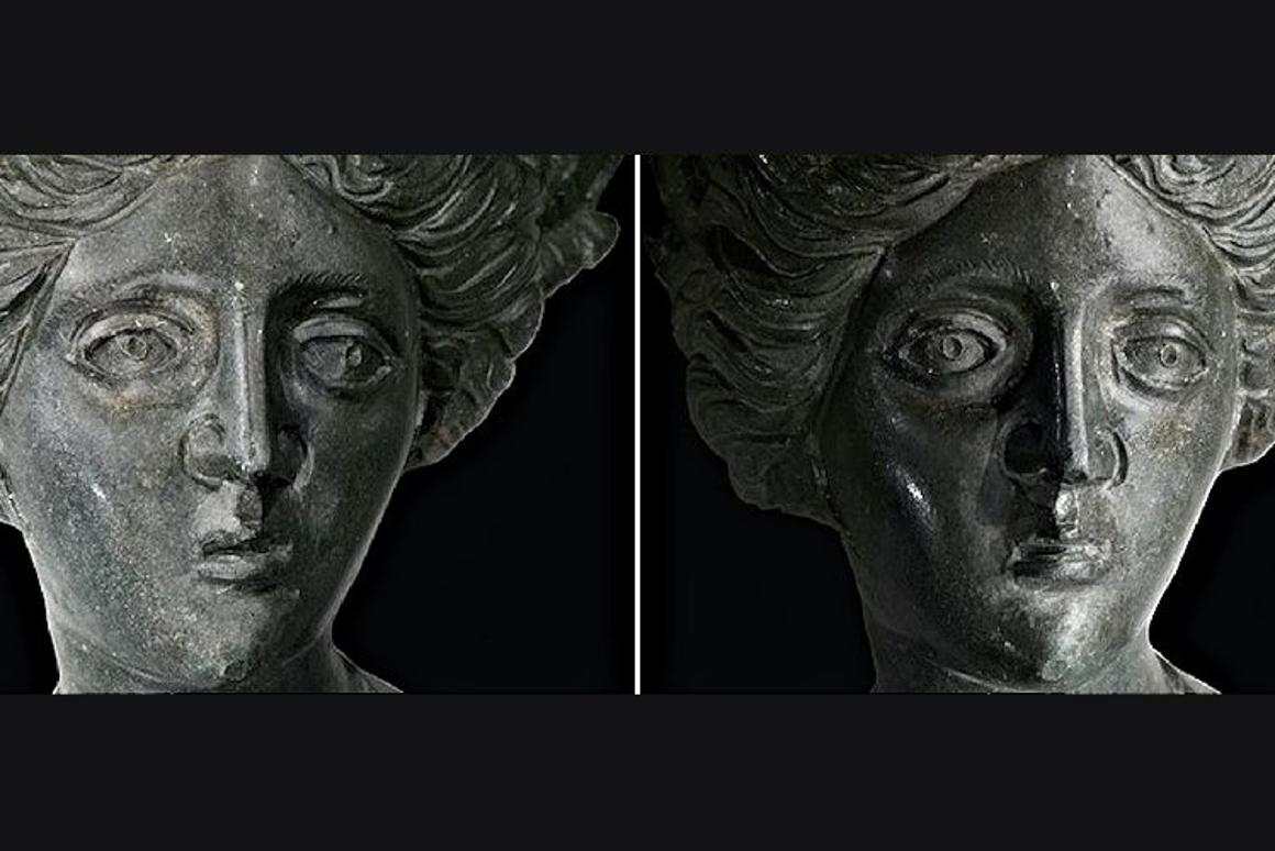 Images of a statue from one piece of reflectance paper as seen with incident light from either side (Photo: University of California-Santa Cruz)