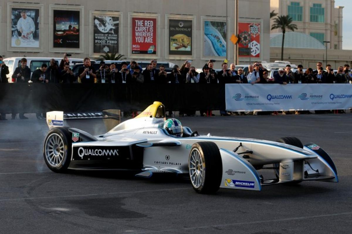 The Spark-Renault SRT_01E, in its first public demonstration in Las Vegas