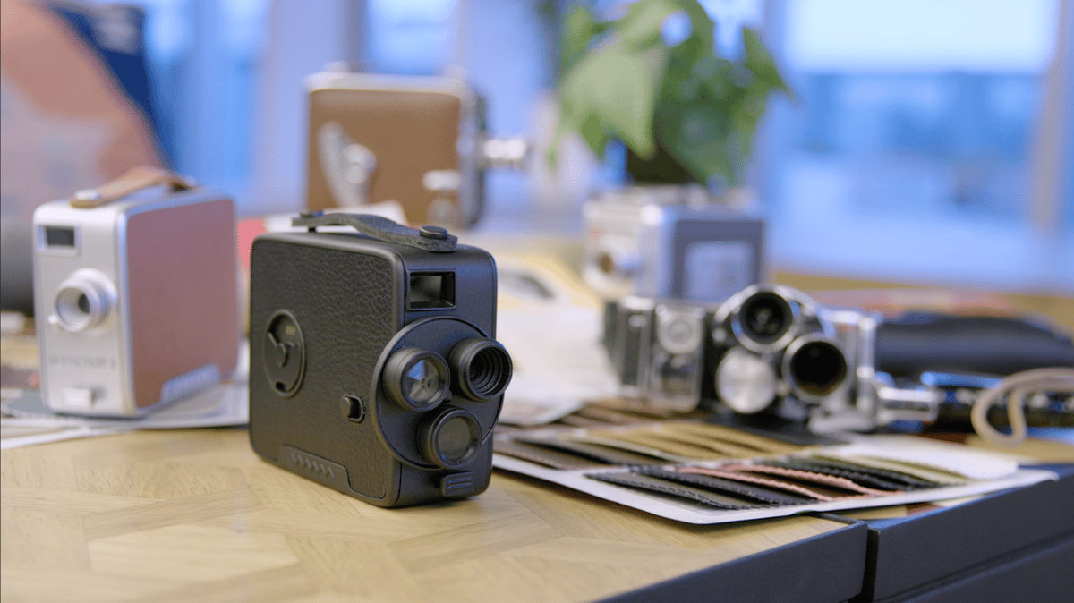 The Fragment 8, alongside some genuine 8mm movie cameras from days gone by