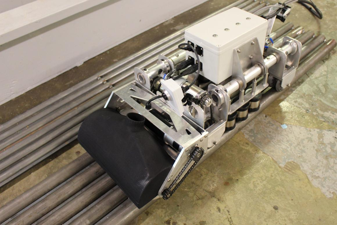 Designed to remove the danger to humans working in hazardous power station environments, the ICM climbing robot is able to clean and inspect electric power station boiler-pipes while being controlled remotely