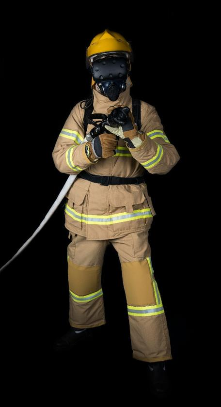 The new version of the FLAIM firefighter simulator includes a biofeedback vest called hitoe, which monitors the wearer's ECG readings and records data