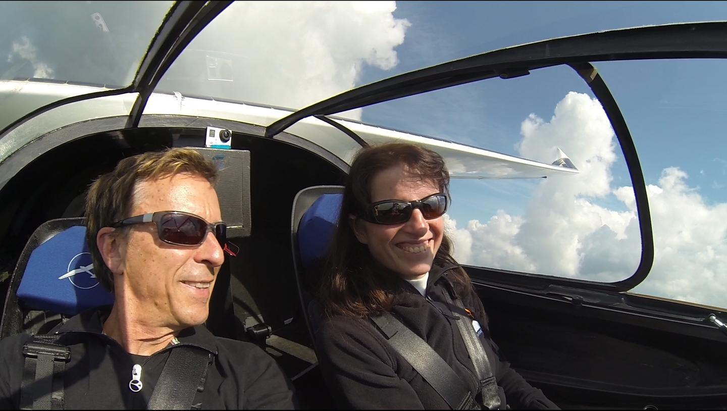 Eric and Irena Raymond fly in the Sunseeker Duo above the countryside near Milan, Italy