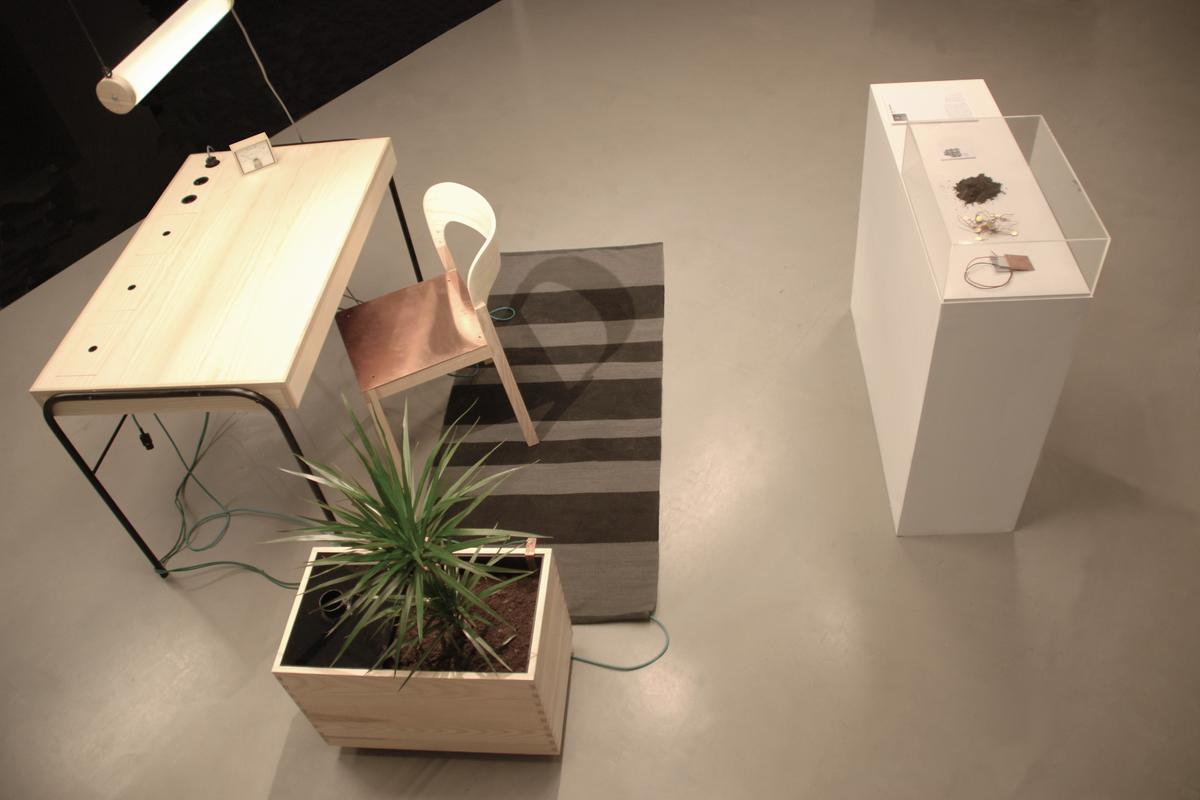 Unplugged is a prototype of an office work station that powers devices via energy that is collected off the human body